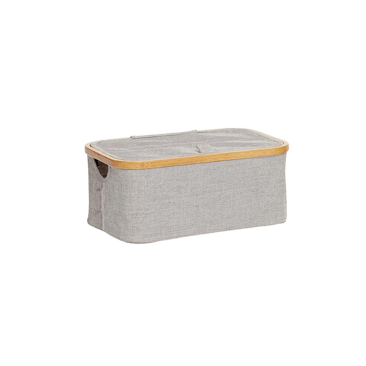 Boîte de rangement avec couvercle en tissu et bambou gris (photo)