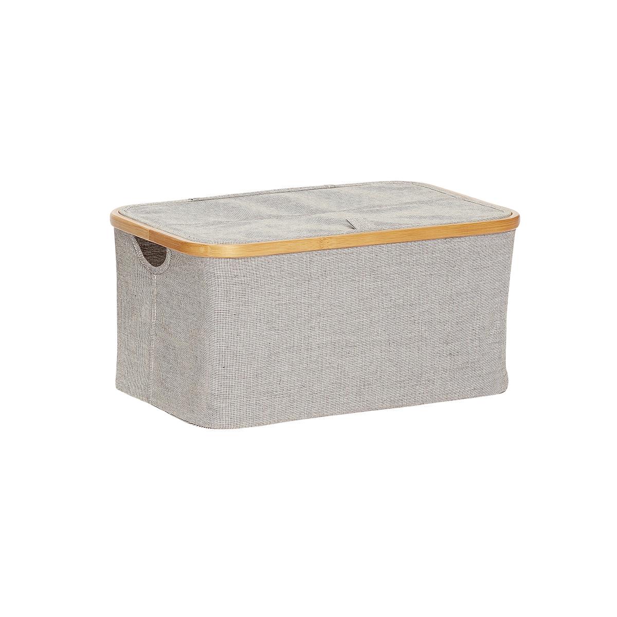 Boîte de rangement avec couvercle en tissu gris et bambou L45 (photo)