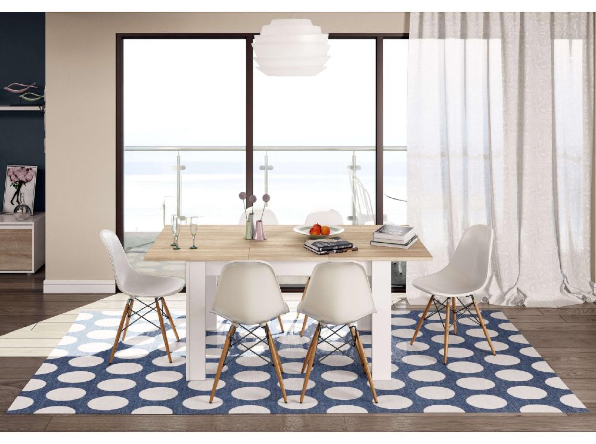 Table à manger extensible blanc/bois L140/190cm
