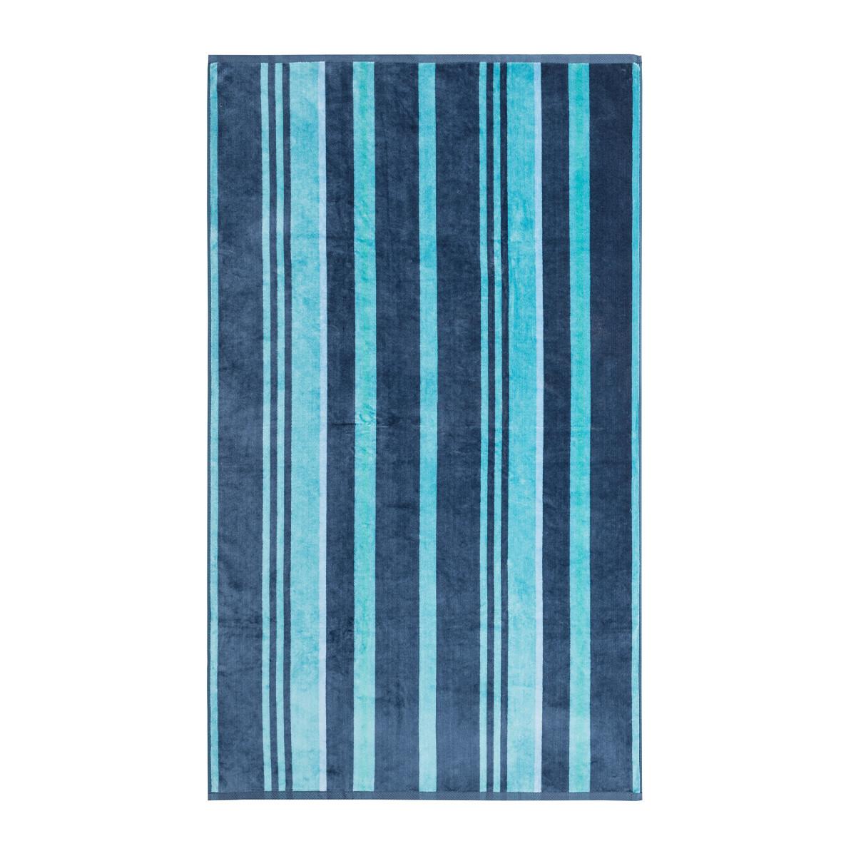 Drap de plage coton 100x170 cm bleu  rayé