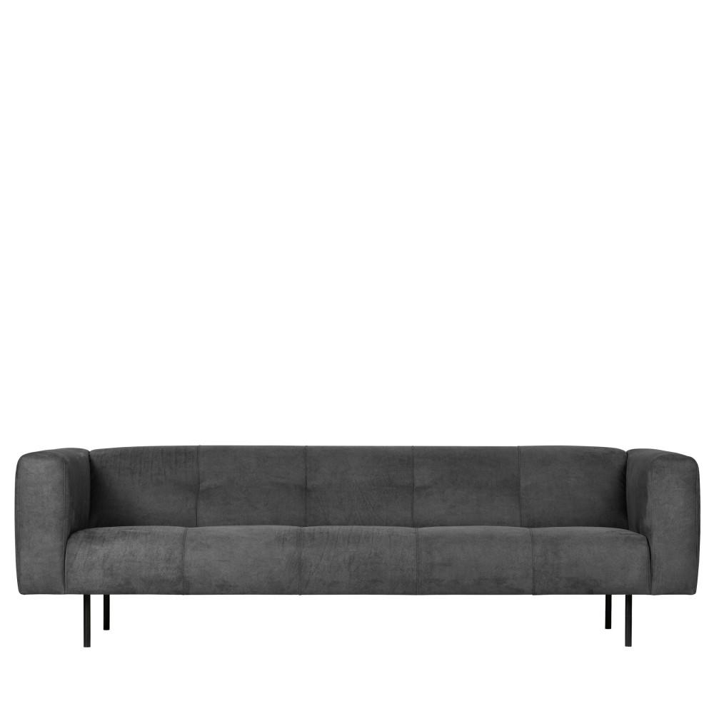Canapé 4 places en simili gris foncé