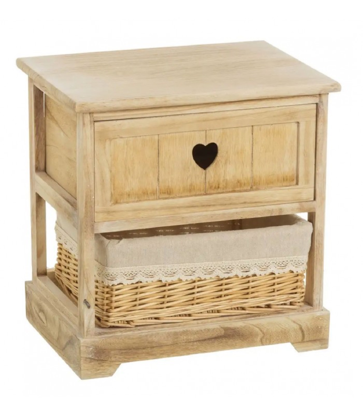 Table de chevet en bois 1 tiroir avec panier H41cm