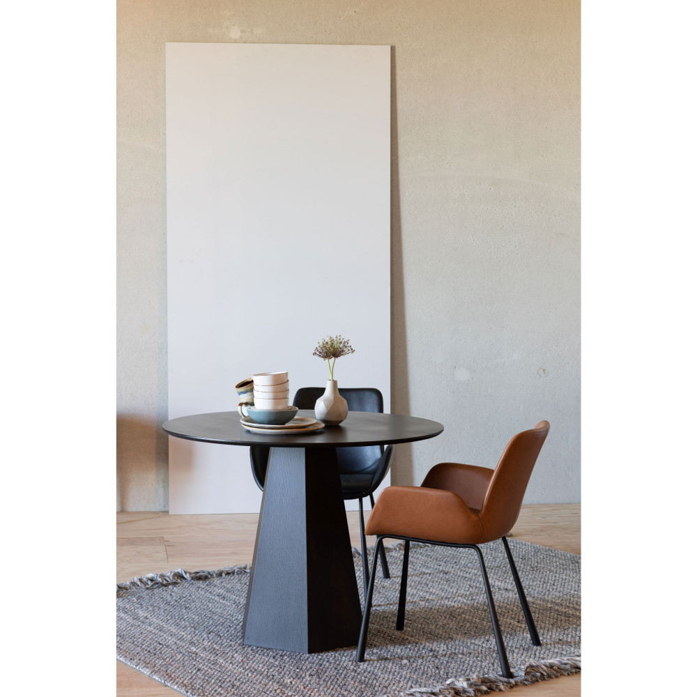 2 fauteuils de table en simili marron