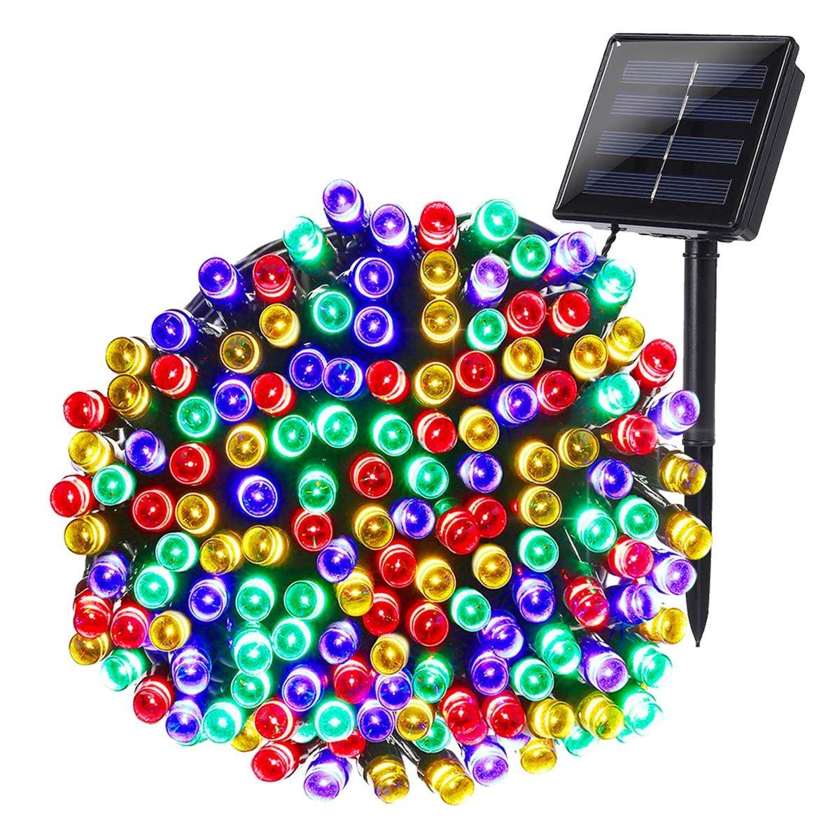 Guirlande solaire 100 leds plastique noir 8.90m