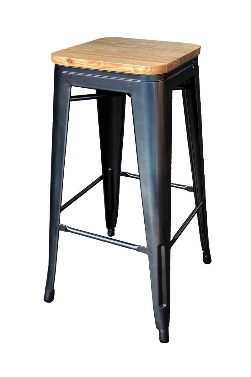 Tabouret de bar en acier gris et bois clair