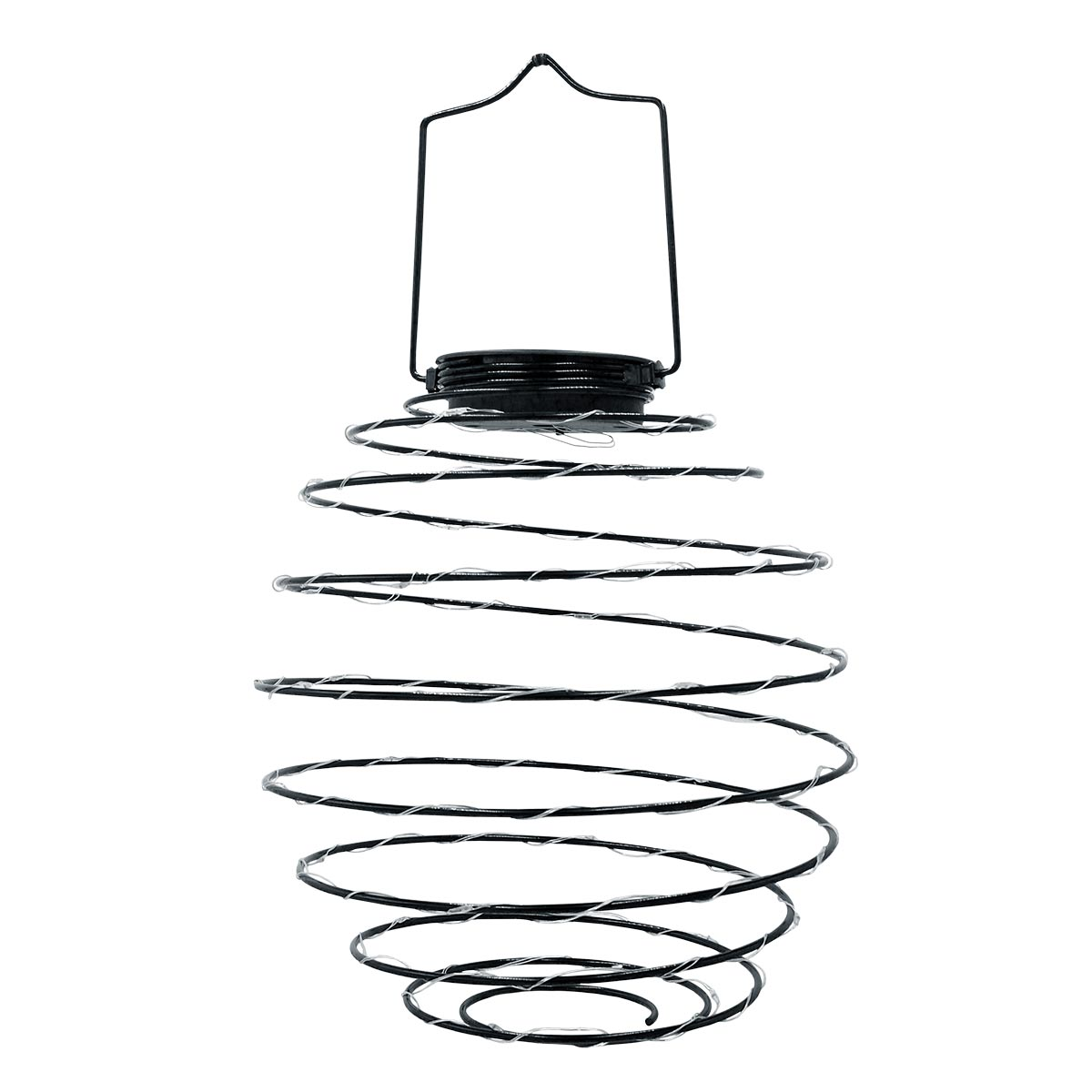 ORION-Suspension solaire spirale acier noir H37cm