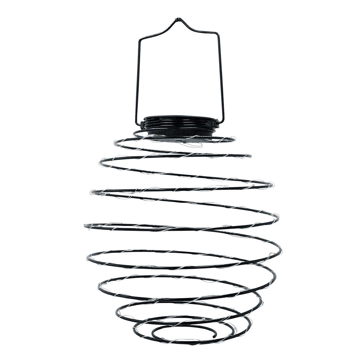 Suspension solaire spirale acier noir H37cm