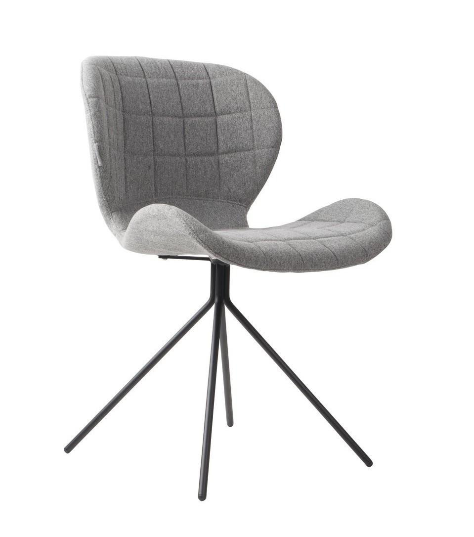 Chaise design en tissu gris