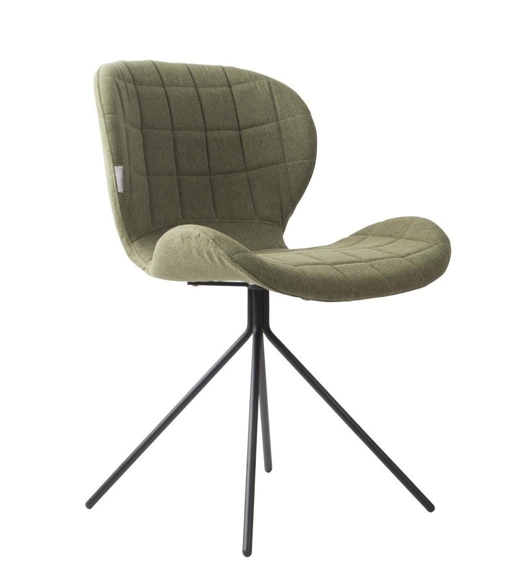 Chaise design en tissu vert