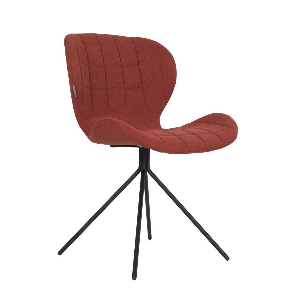 Chaise design en tissu orange