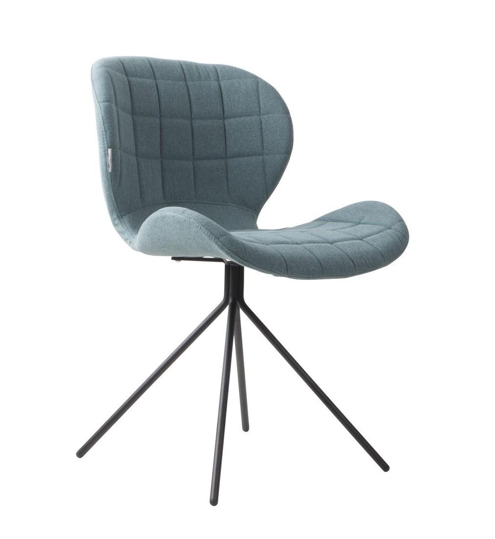 Chaise design en tissu bleu