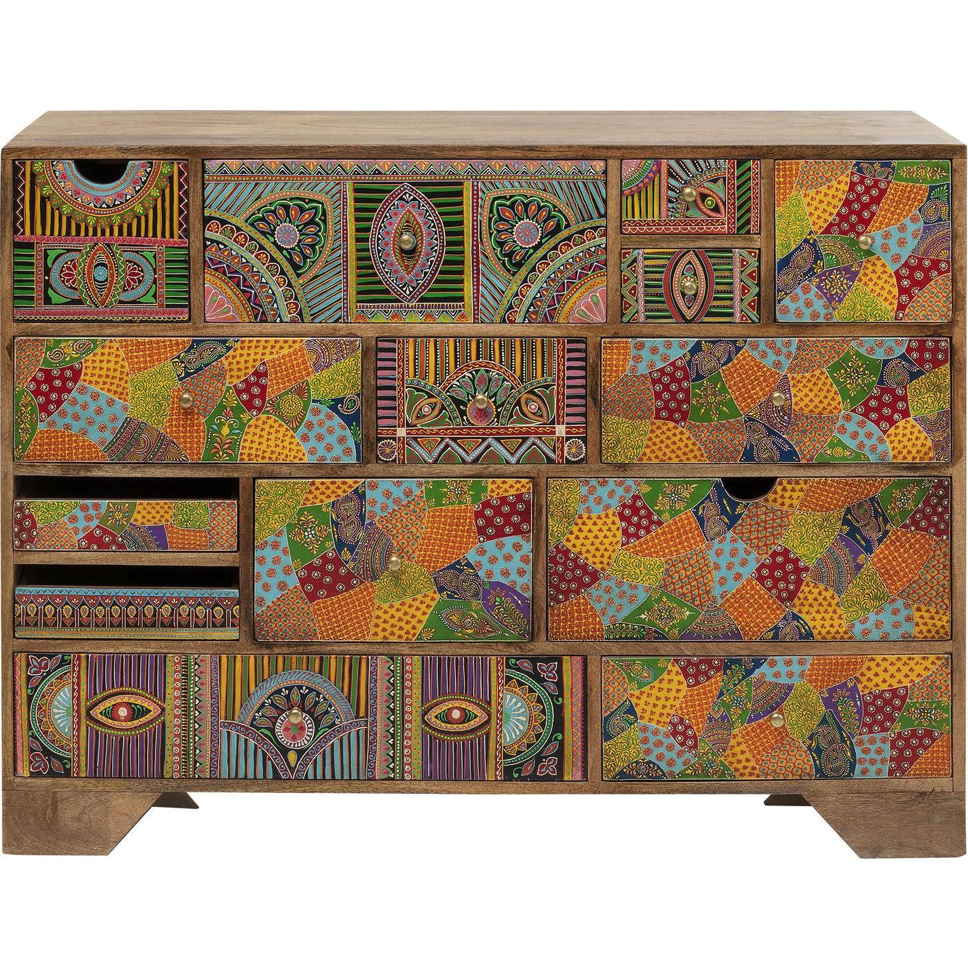 Commode 14 tiroirs en manguier massif motifs multicolores
