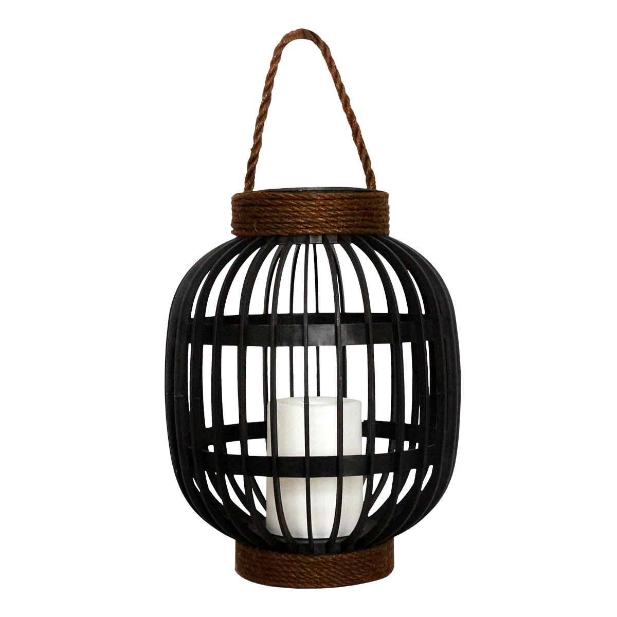 FIDJY-Lanterne solaire avec poignée acier noir H30cm