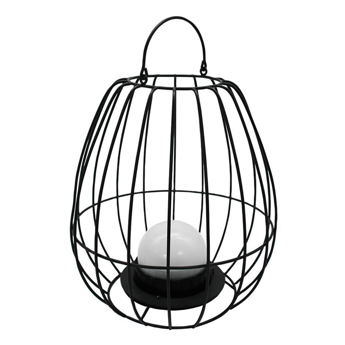 Lanterne cage métal sans fil acier blanc H26cm