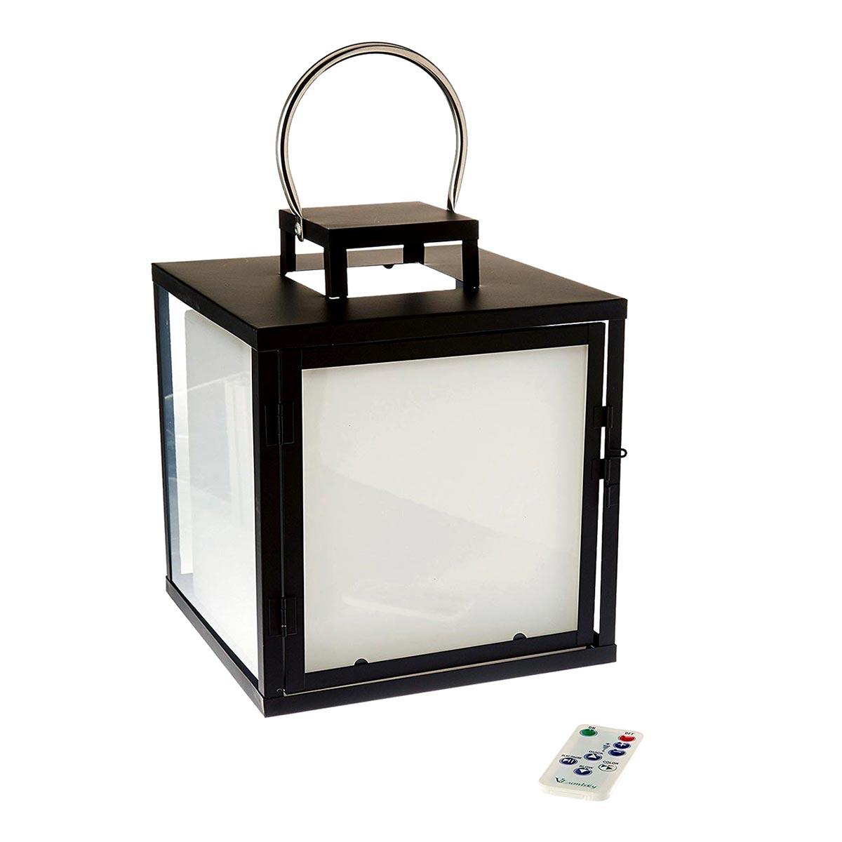 Grande lanterne sans fil acier noir H32cm