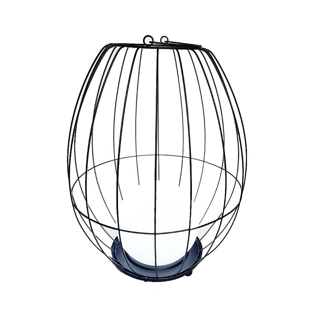 Lanterne cage métal sans fil acier blanc H38cm