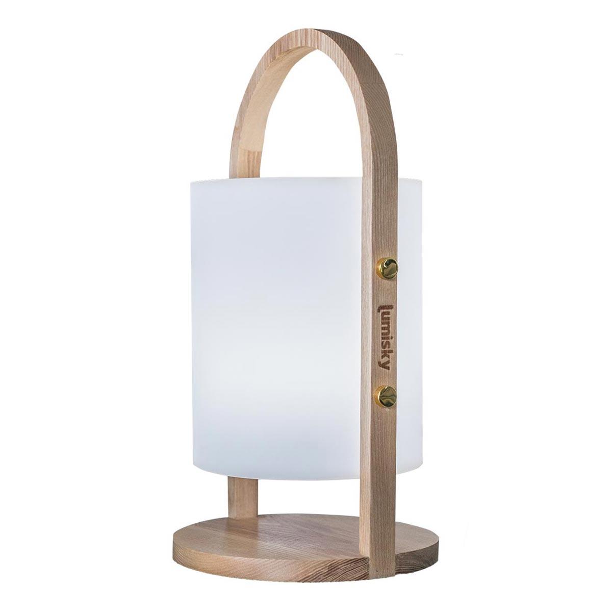 Lanterne sans fil en bois bois blanc H37cm
