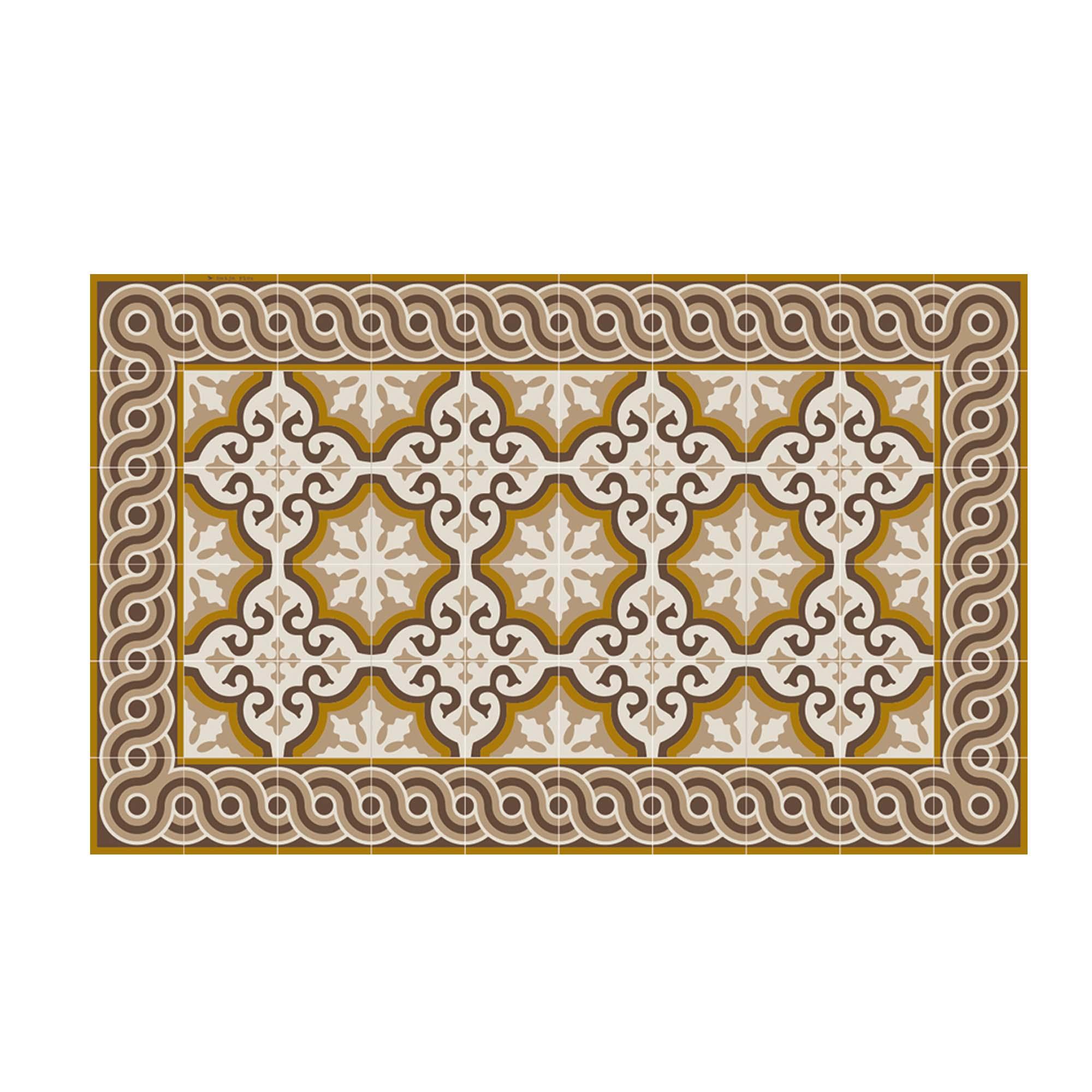 Tapis en vinyle motifs carreaux de ciment marron beige 70x120