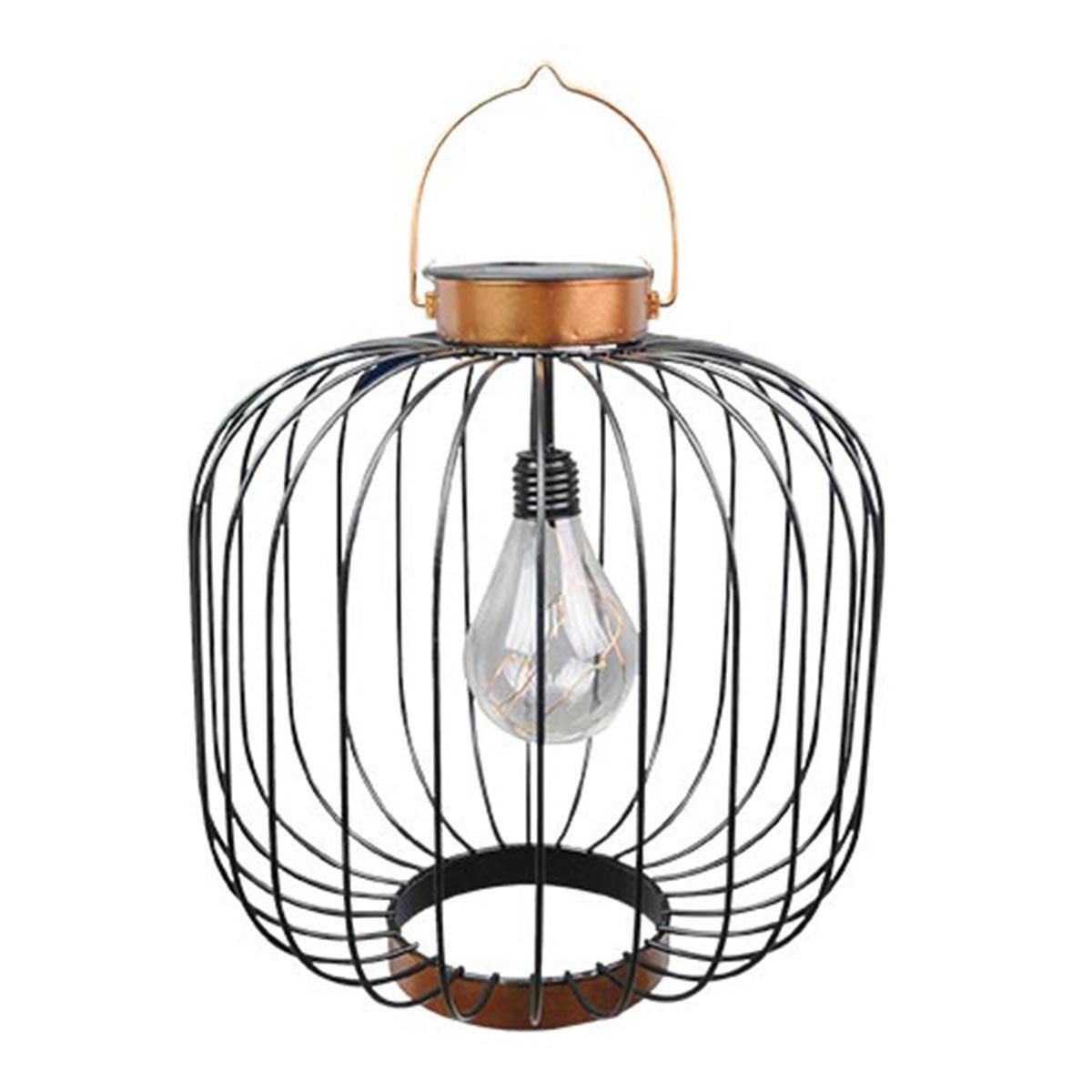 COCO-Lanterne solaire cage métallique acier noir H35cm