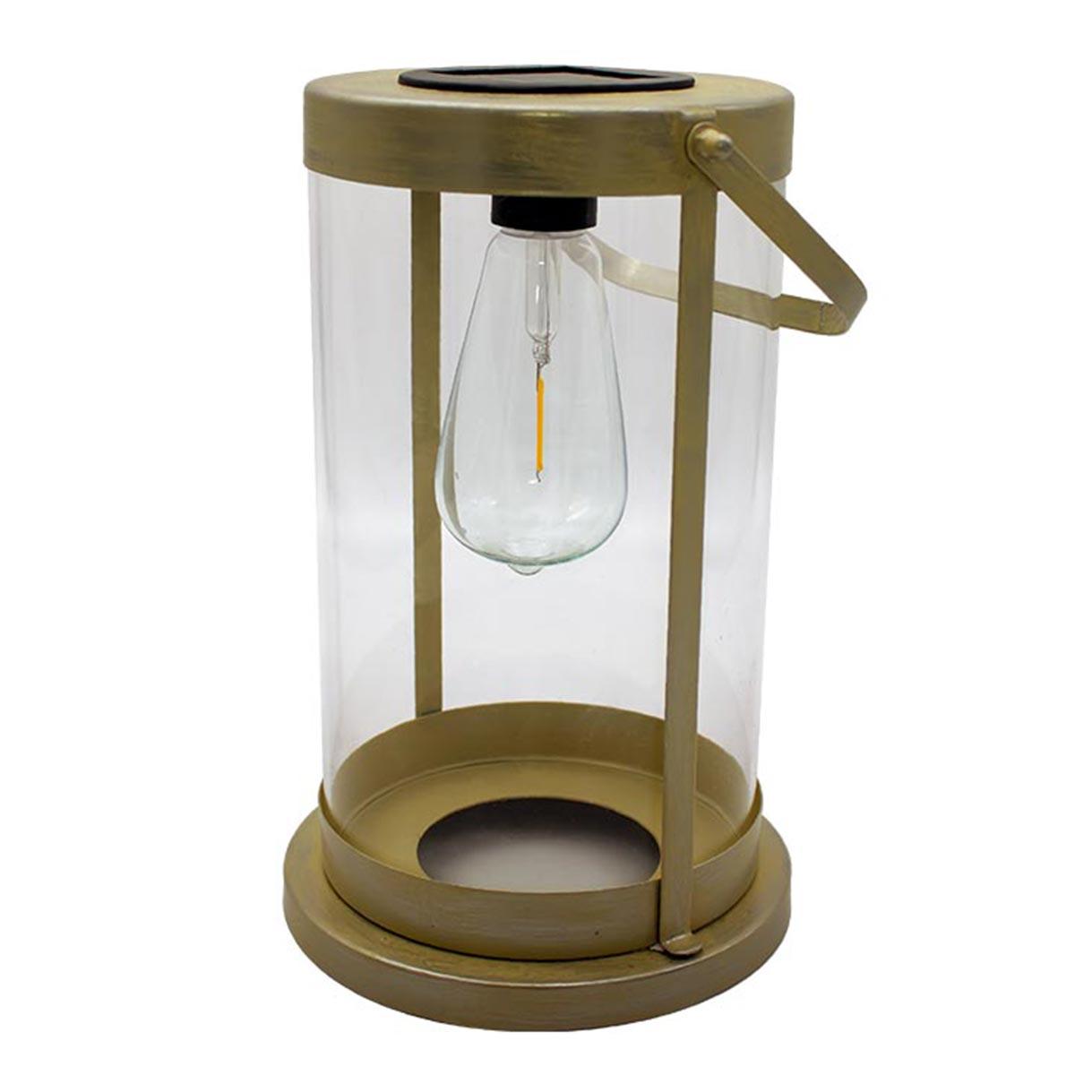 Lanterne solaire sans fil acier beige H38cm