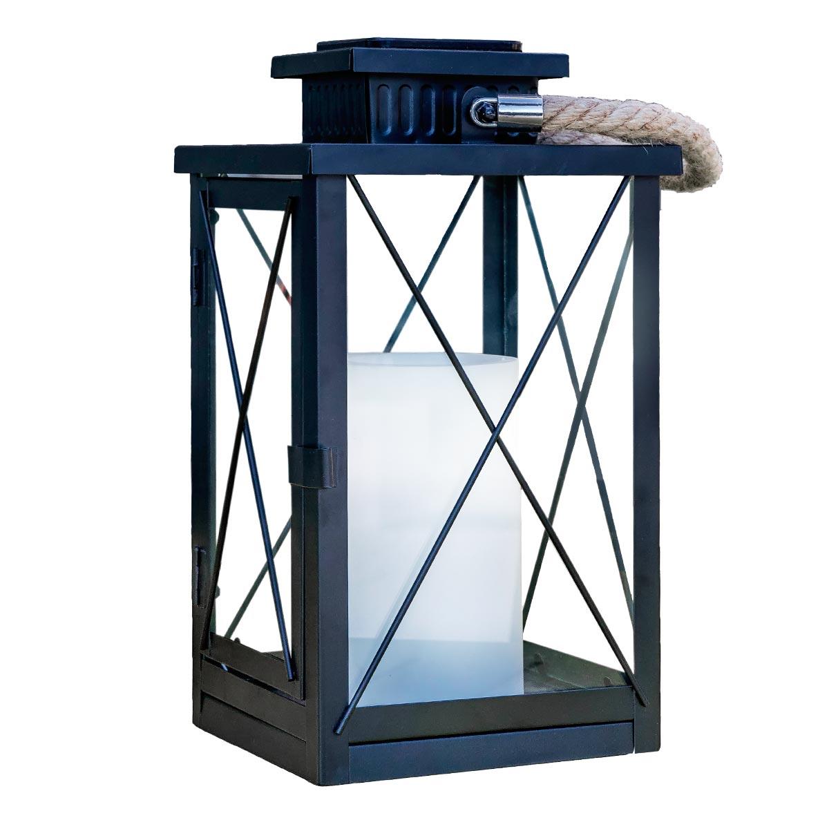 FIREFLY-Lanterne solaire avec poignée acier noir H40cm