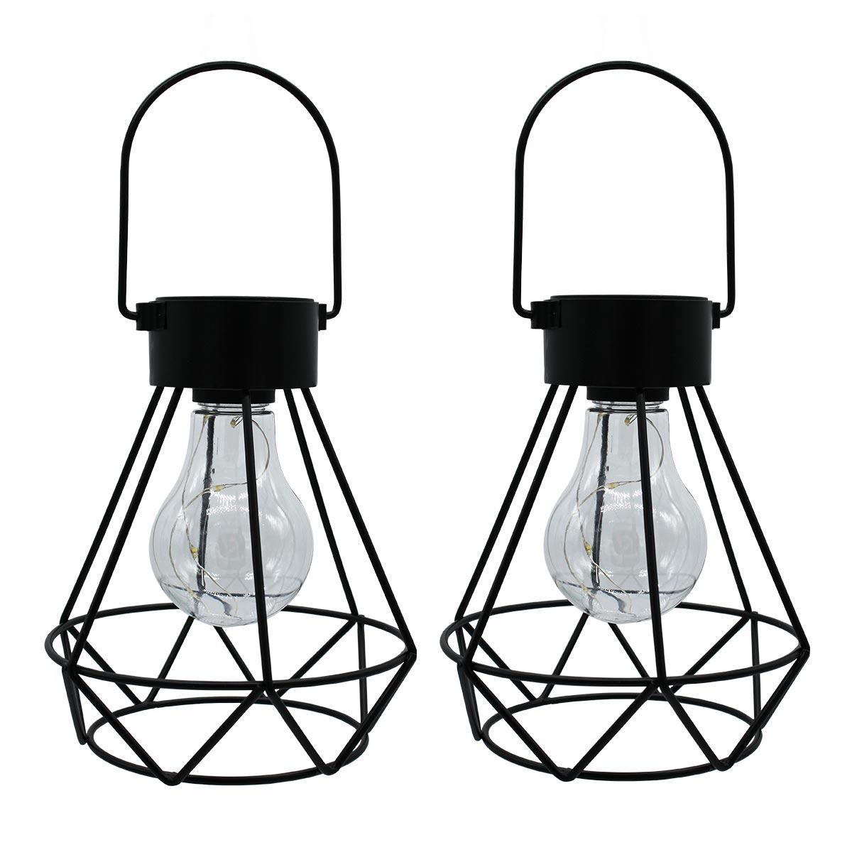 Lot de 2 lanternes solaires acier noir H24cm