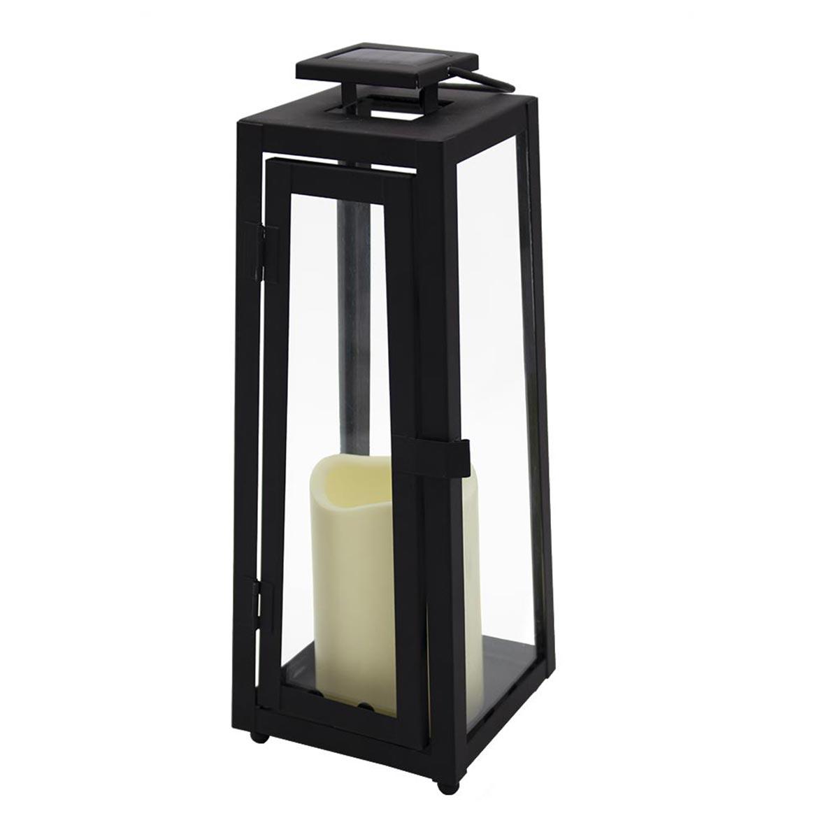 Lanterne solaire sans fil acier noir H36cm