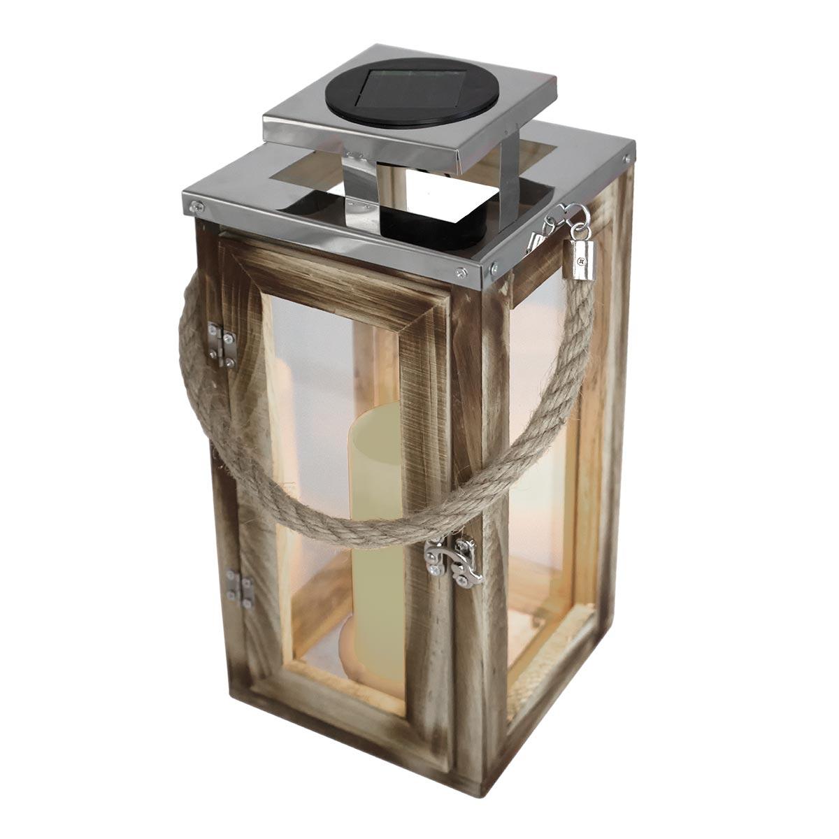 Lanterne solaire avec poignée bois beige H41cm