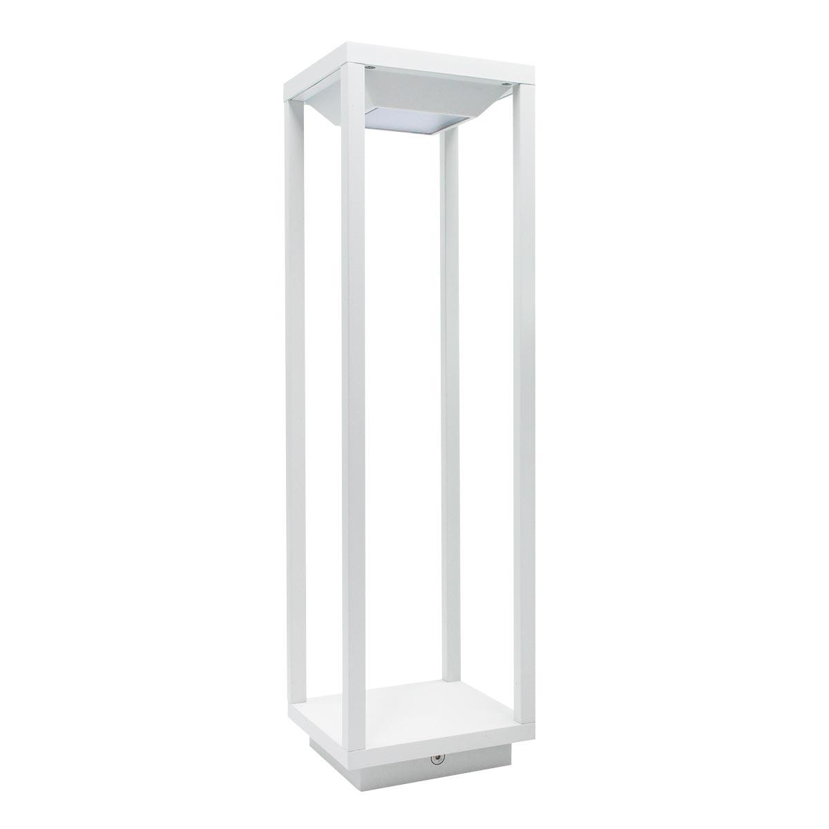 BIG HYDRA-Lanterne solaire aluminium blanc H50cm