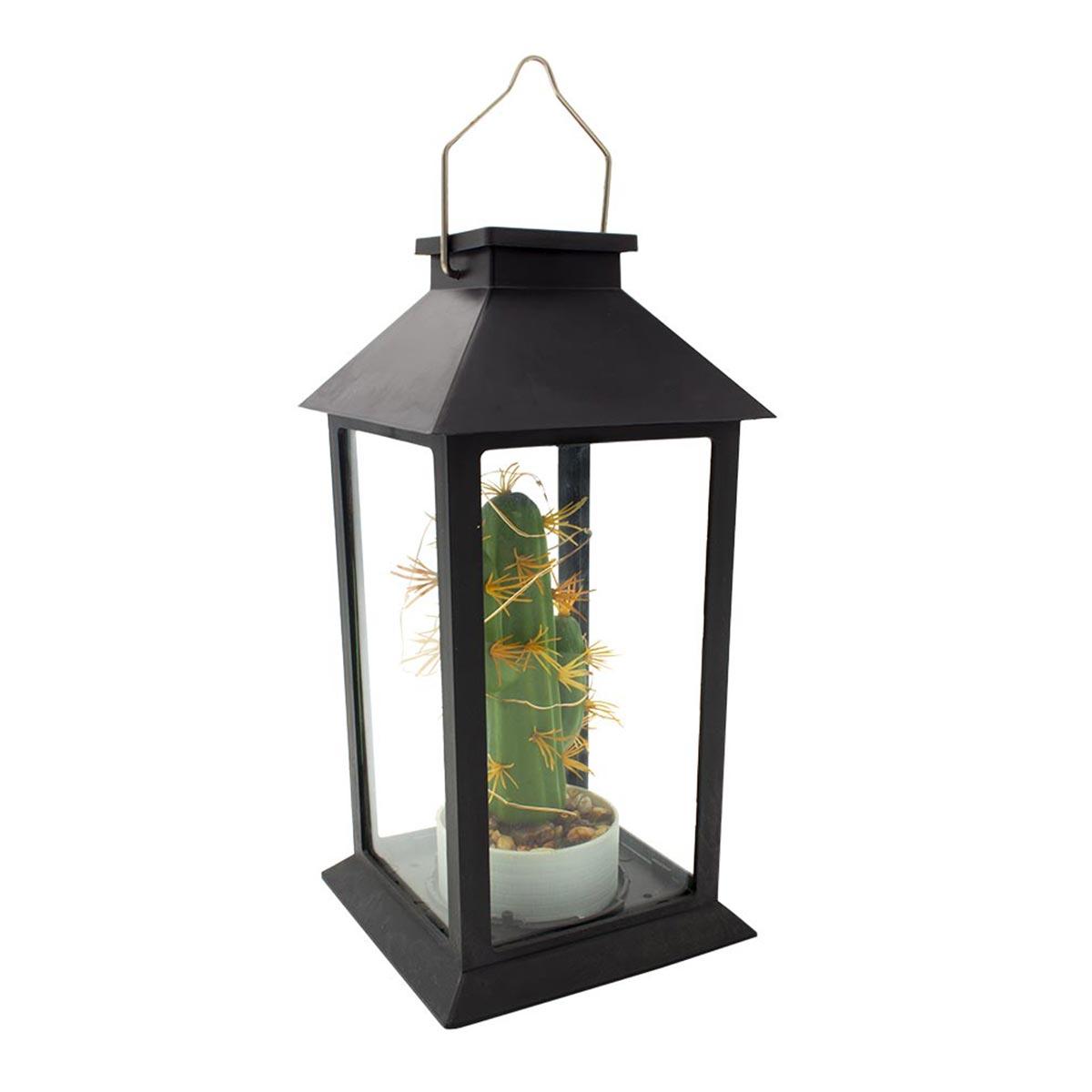 Lanterne végétale solaire verre noir H35cm
