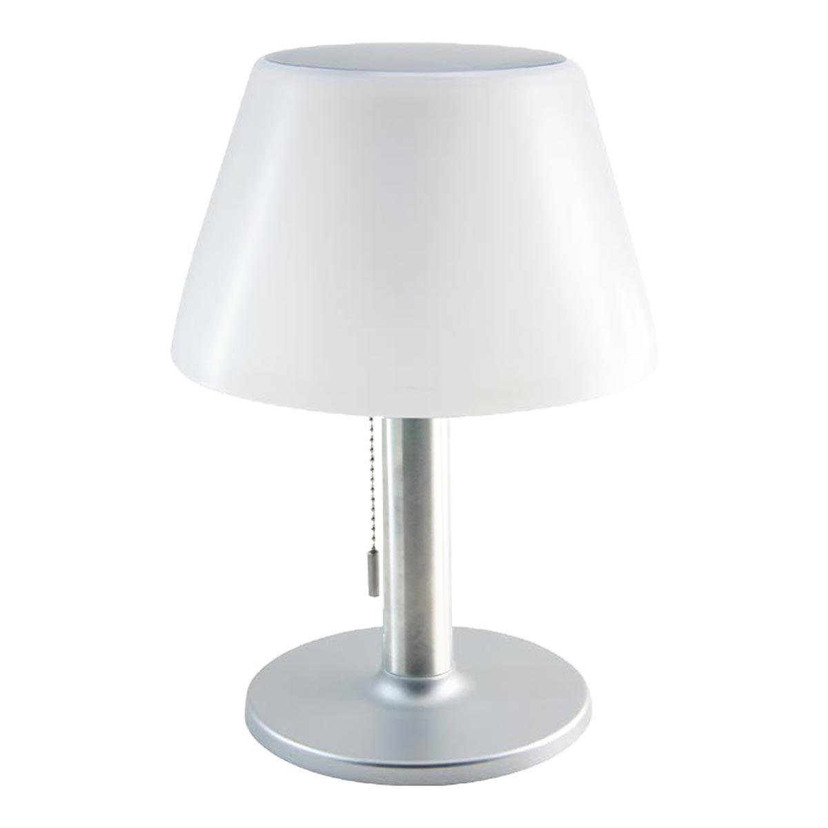 LENNY-Lampe de table solaire acier blanc H28cm