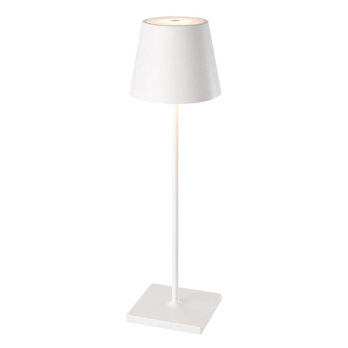 Lampe de table sans fil KELLY blanc en aluminium 39cm