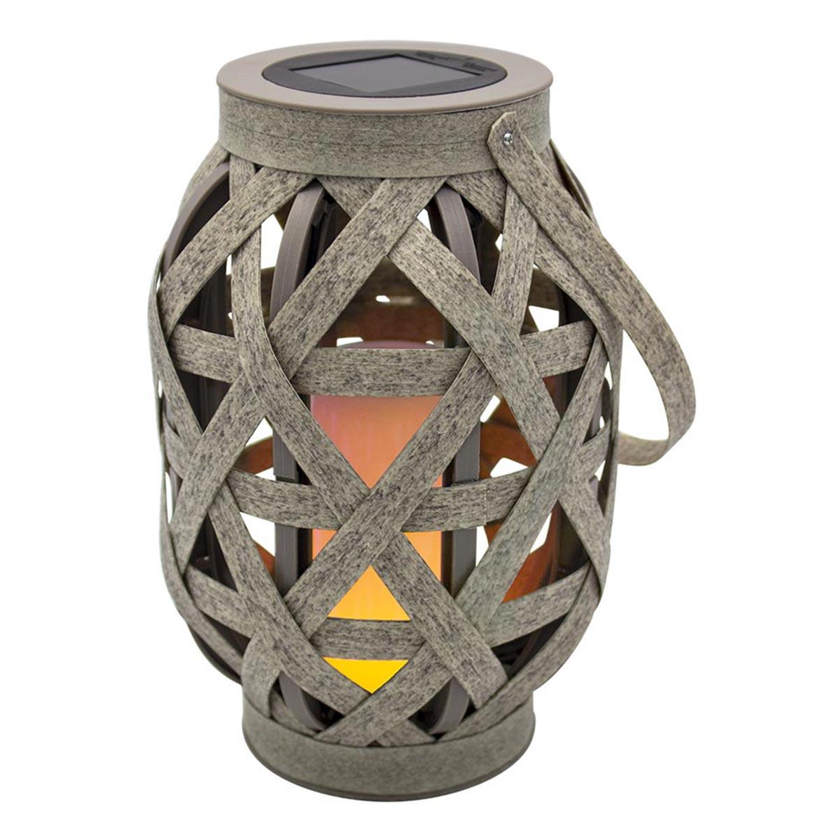 CROSS-Lanterne solaire effet flamme plastique marron H41cm