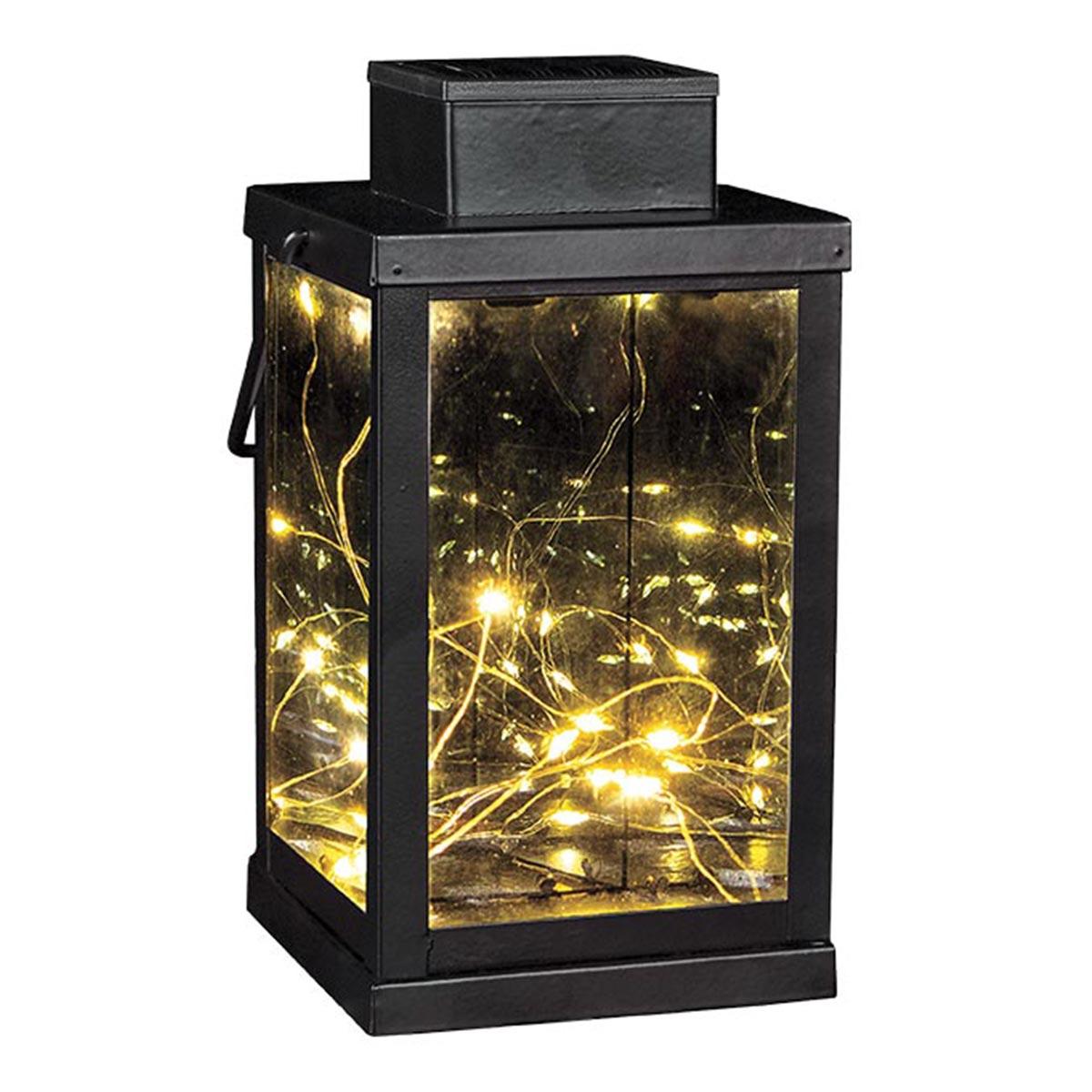 Lanterne magique 3D solaire acier noir H24cm