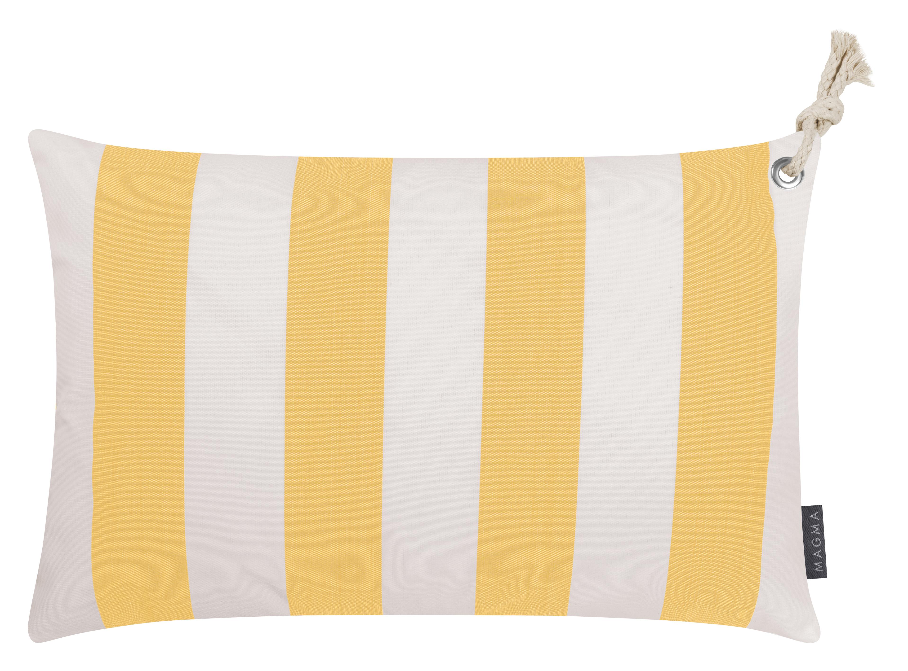 Housses de coussin rayées jaune/blanc avec corde - Lot de 2- 60x40