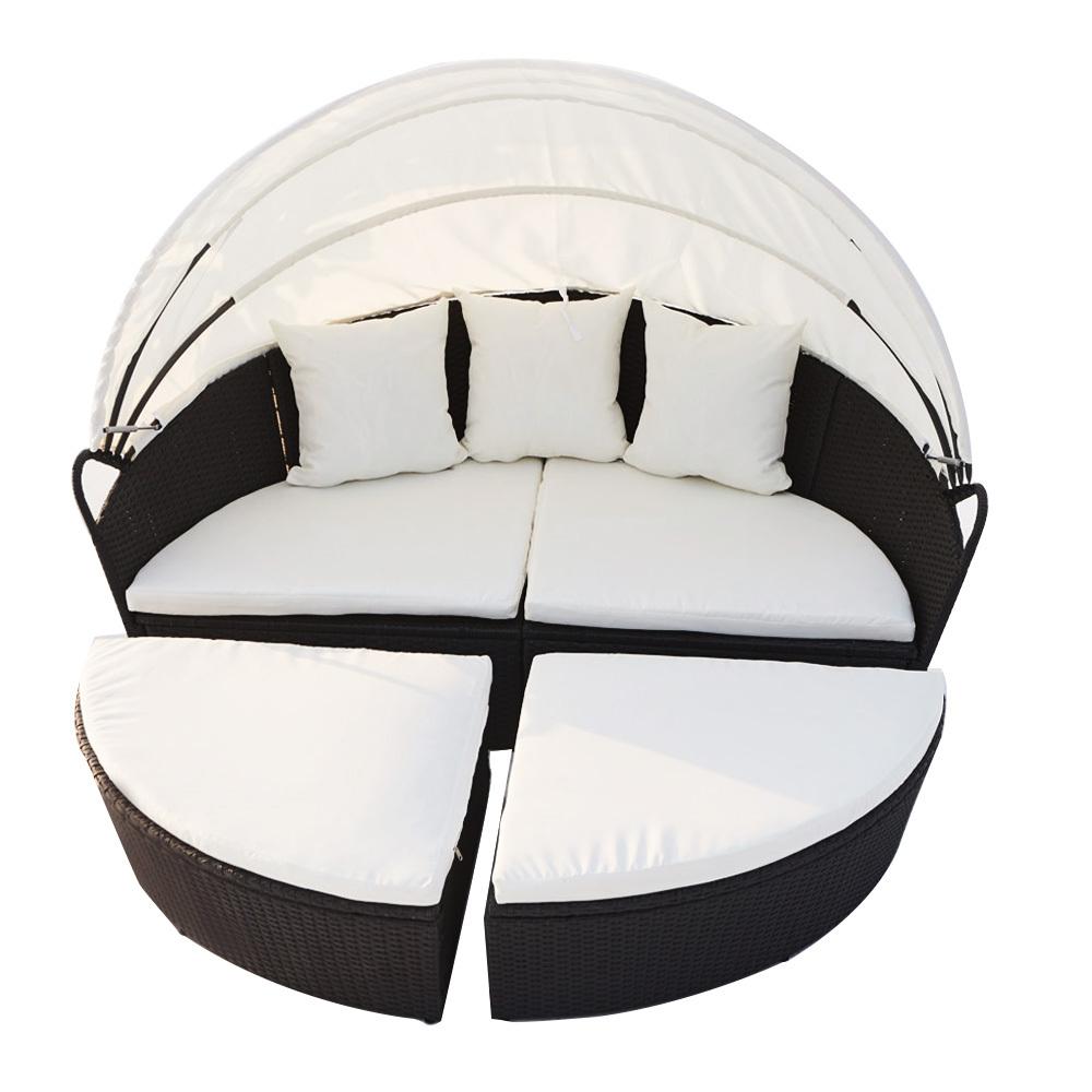 Canapé de jardin modulable 6/8 places en résine tressée noir/blanc