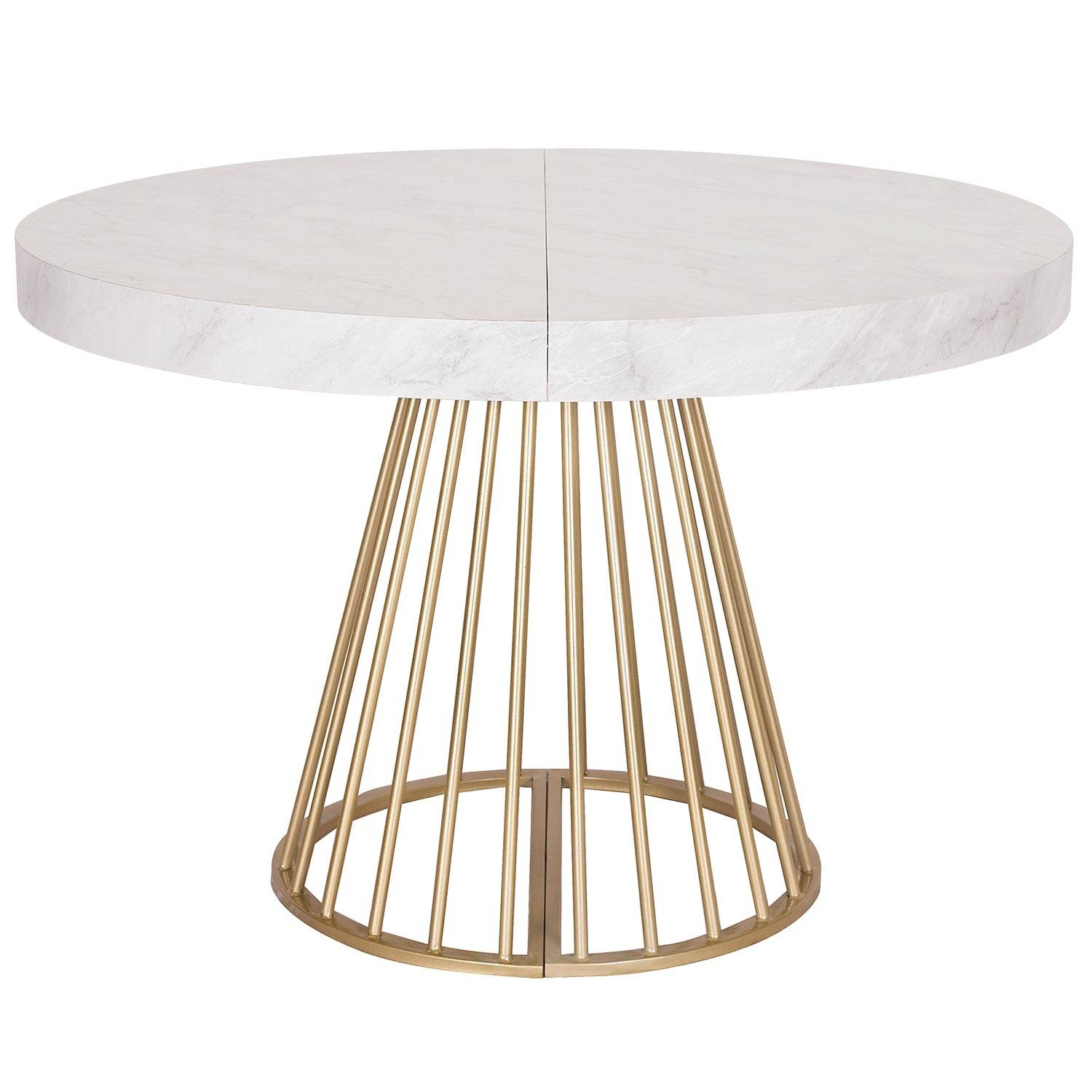 Table ronde extensible effet marbre pieds or