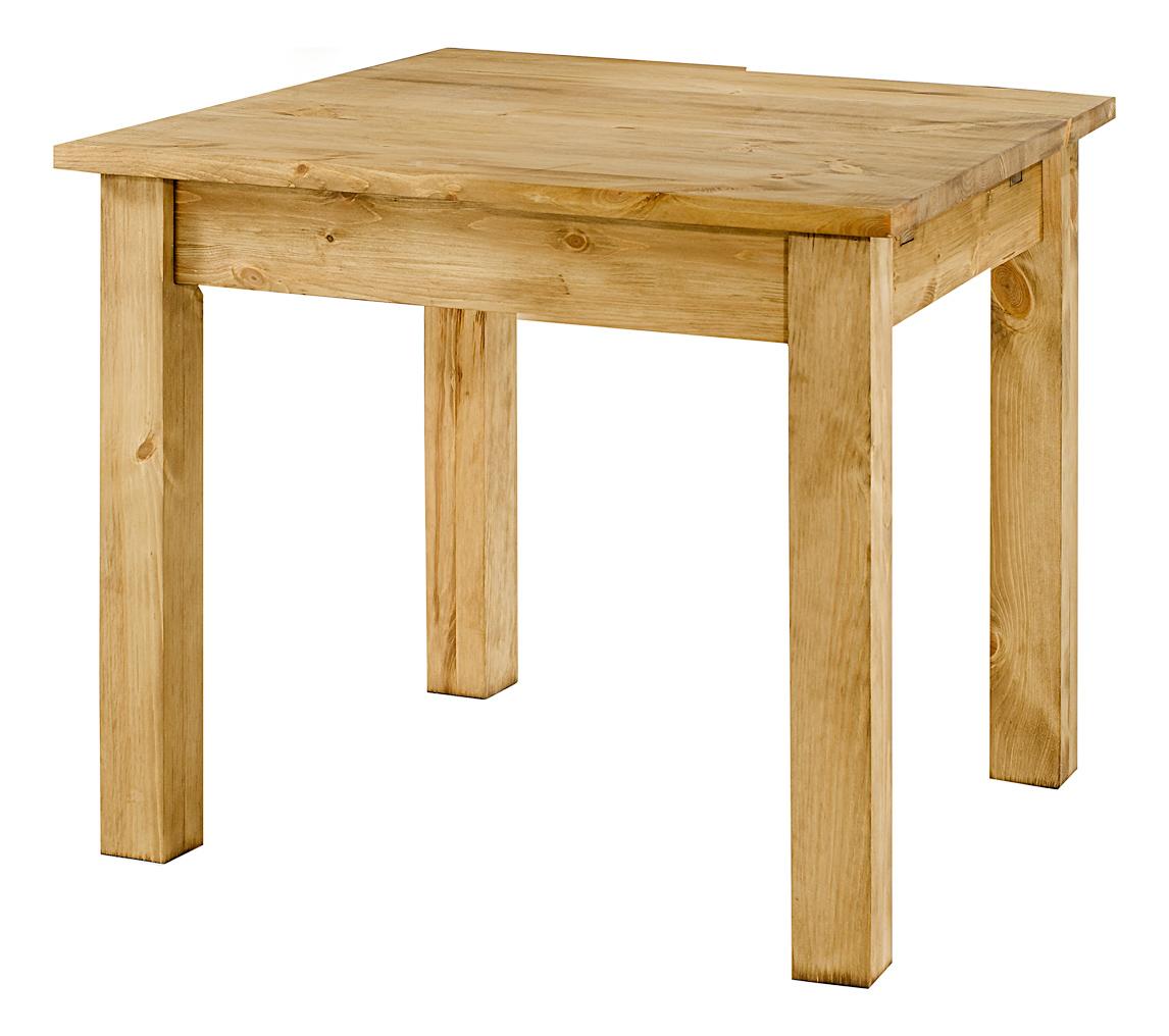 Table carrée pin massif 80 x 80 cm  allonges en option