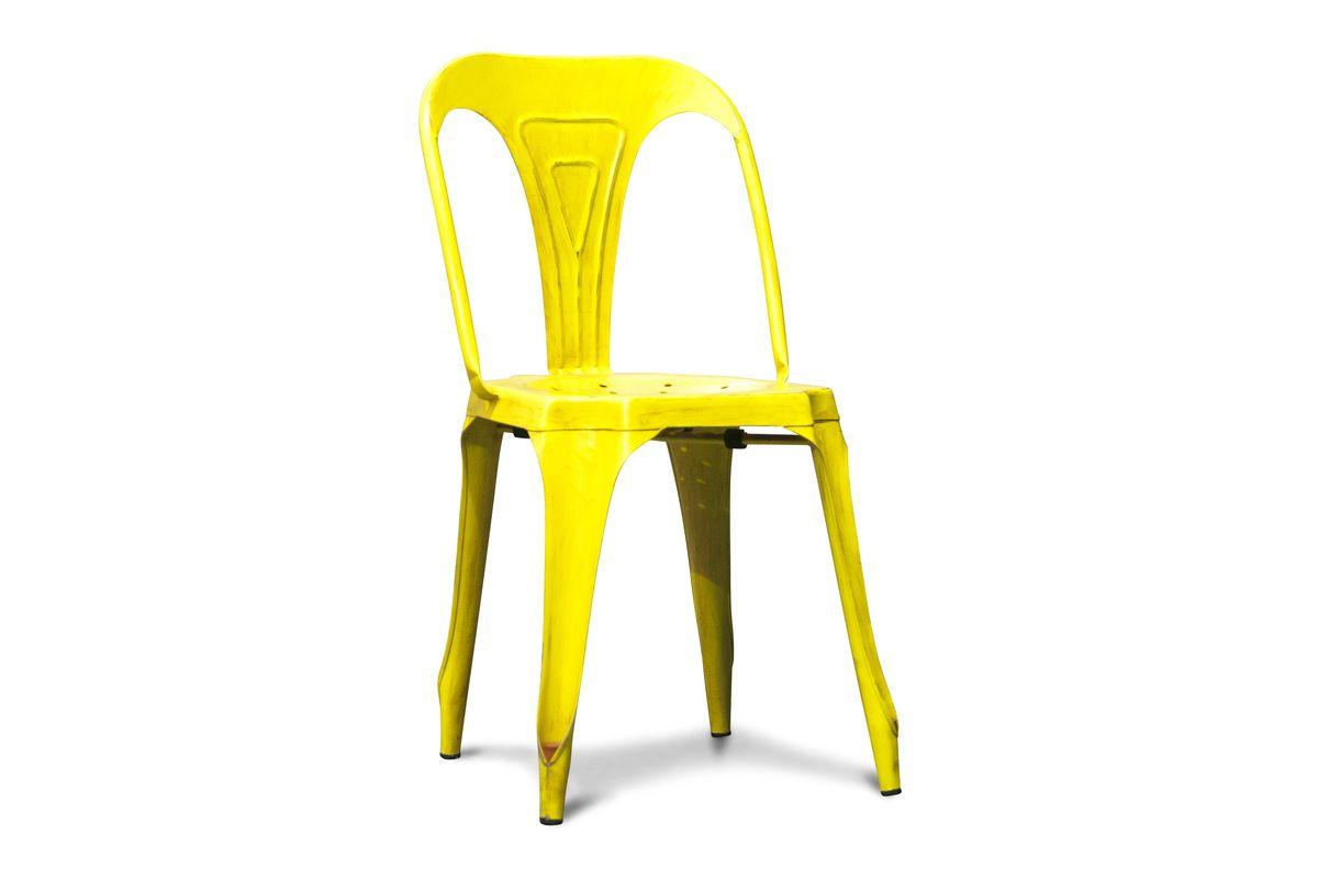Chaise vintage en métal jaune