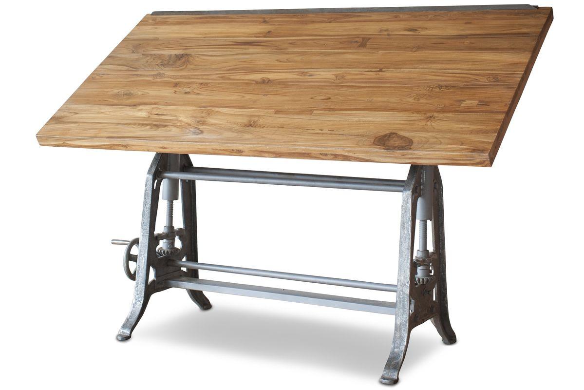 Table d'architecte en fonte et teck marron