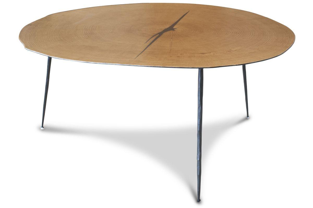 Petite table basse bois-métal marron