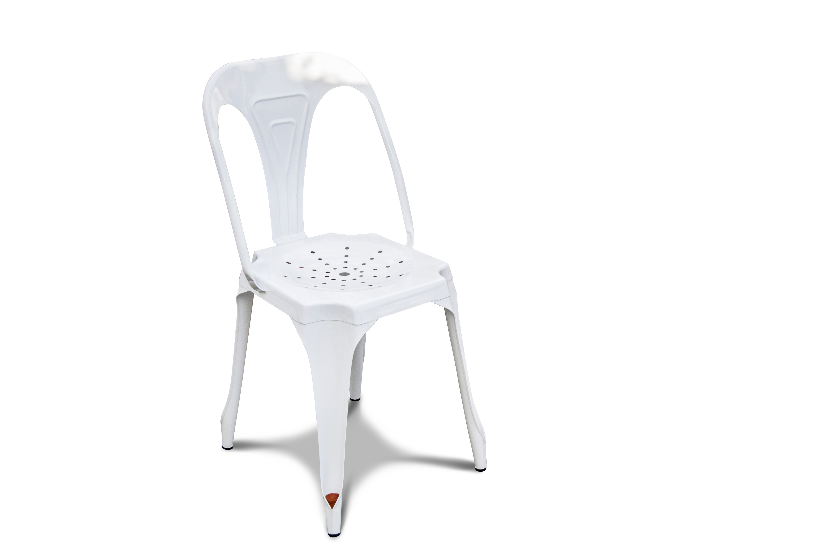 Chaise vintage en métal blanc