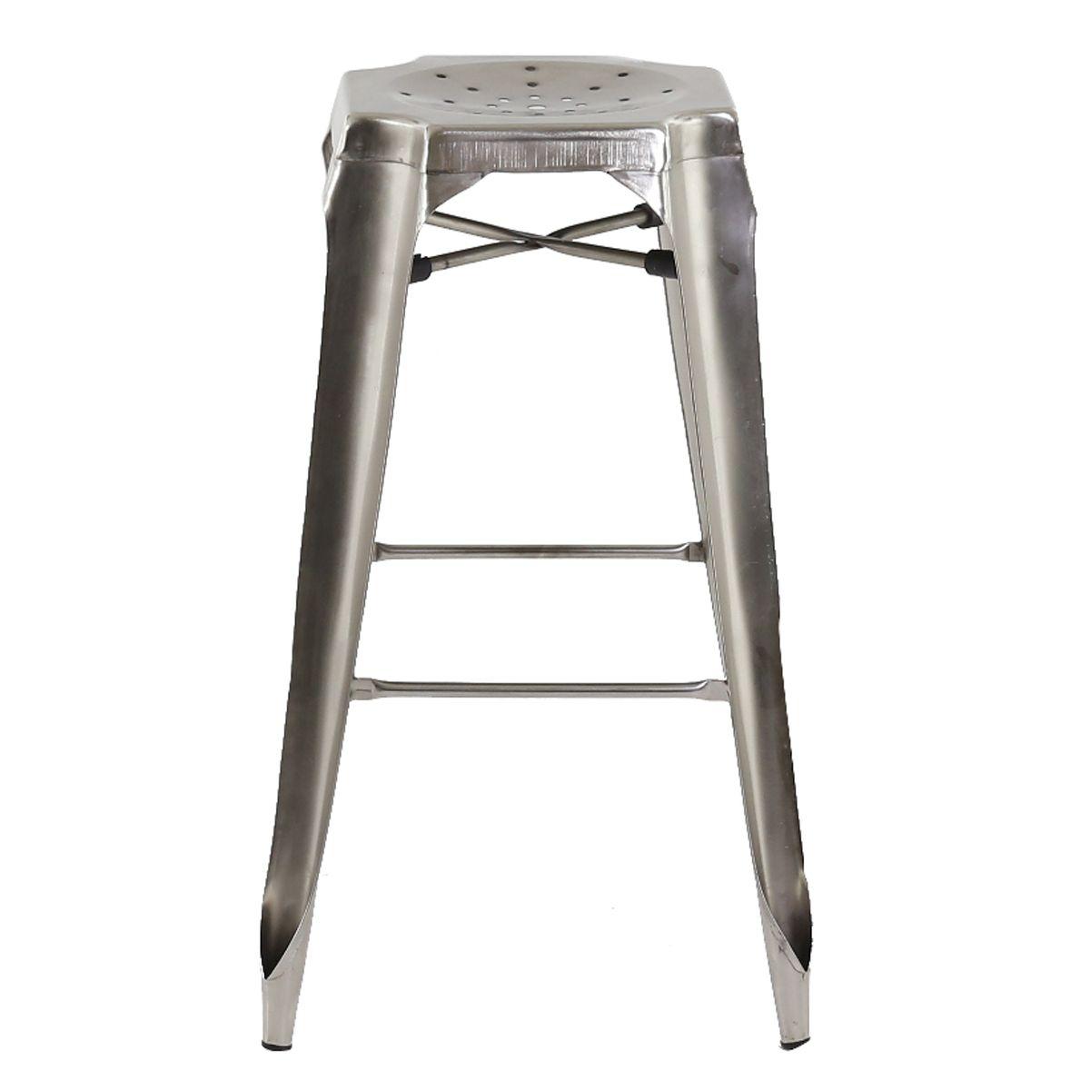 Tabouret de bar industriel en métal  gris foncé
