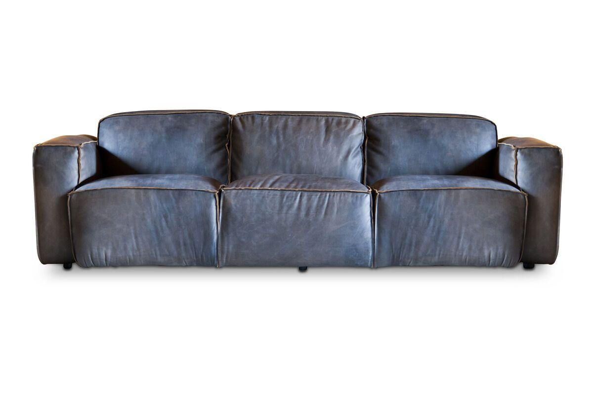 Canapé 3 place en cuir gris