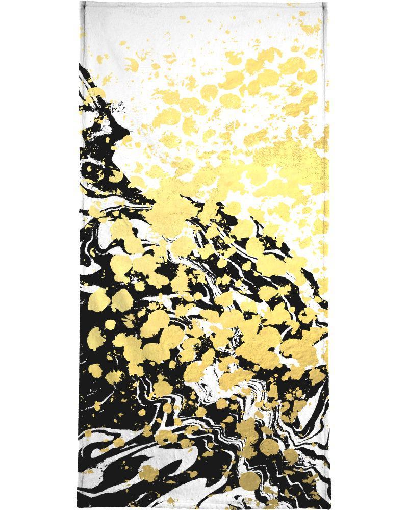 Serviette de bain en éponge-velours en Jaune & Noir/70x140