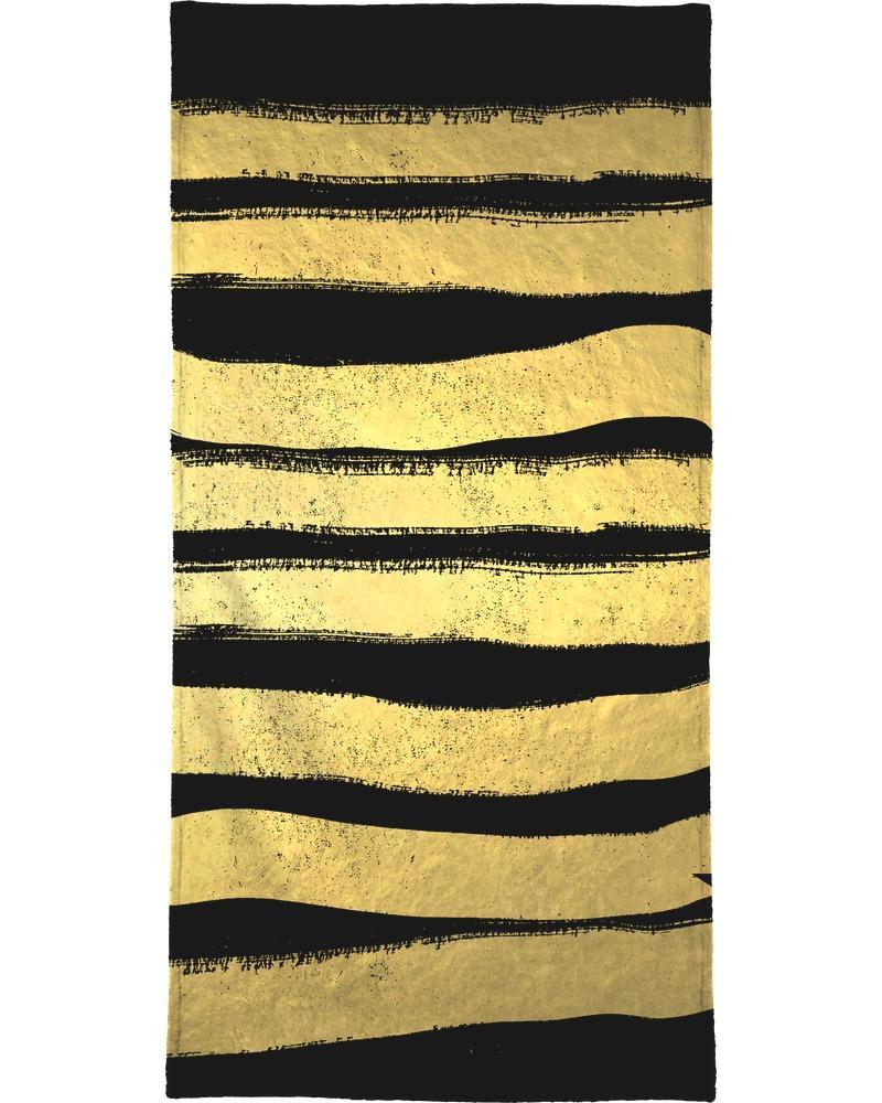 Serviette de bain en éponge-velours en Jaune & Noir/40x80