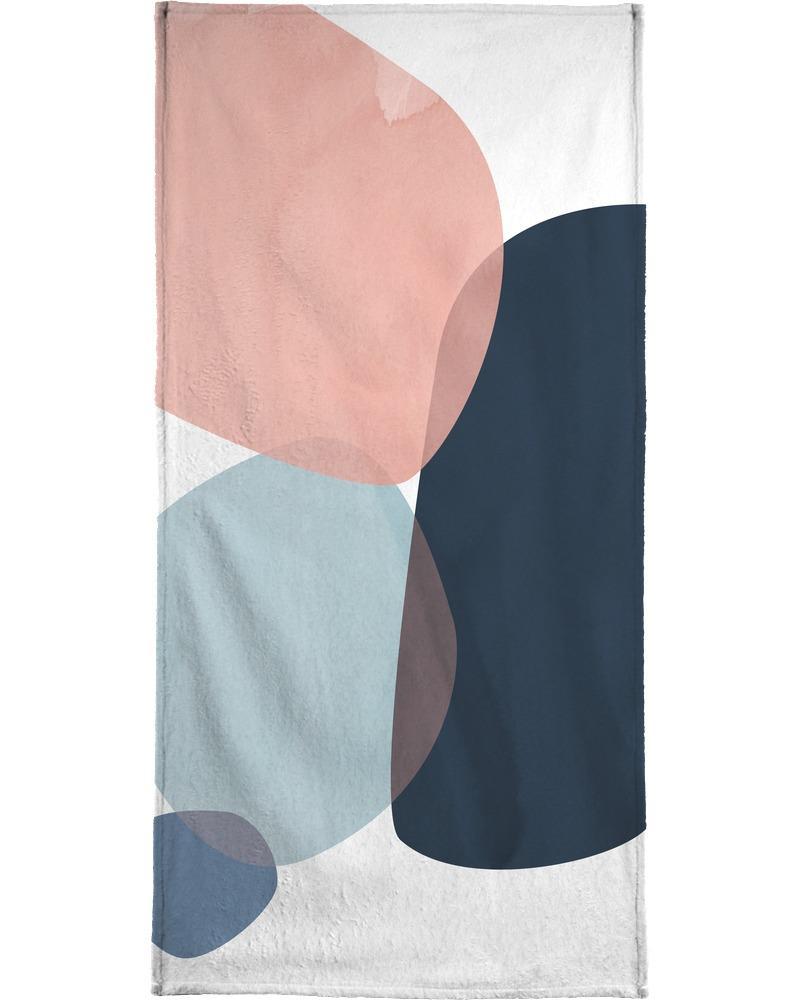 Serviette de bain en éponge-velours en Bleu & Gris/70x140