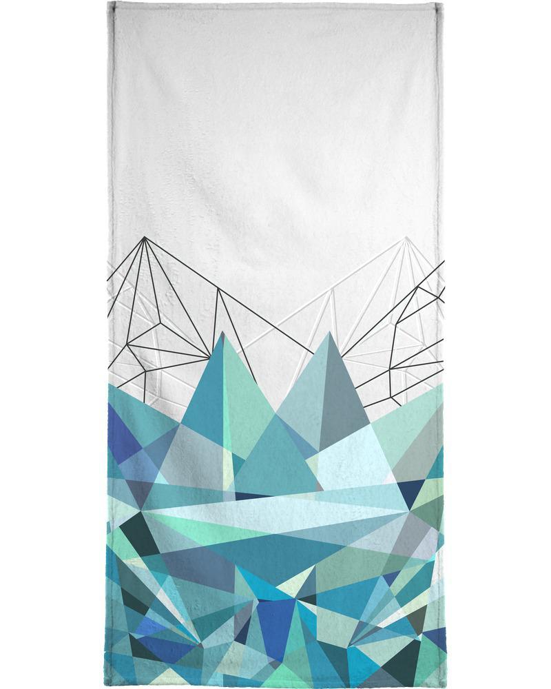 Serviette de bain en éponge-velours en Bleu & Gris/40x80