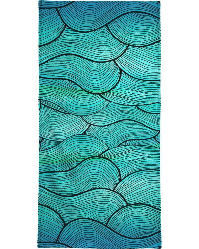 Serviette de bain en éponge-velours en Bleu & Turquoise/40x80