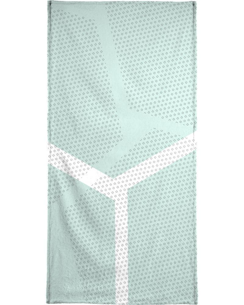Serviette de bain en éponge-velours en Blanc & Vert/70x140